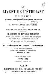 Le livret de l'étudiant de Paris