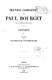 Oeuvres complètes de Paul Bourget: Volume1