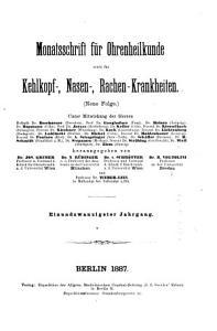 Monatsschrift f  r Ohrenheilkunde und Laryngo Rhinologie PDF