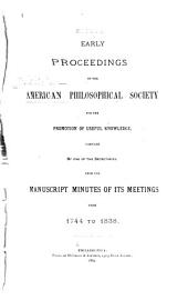 Early Proceedings of the American Philosophical Society for the Promotion of Useful Knowledge