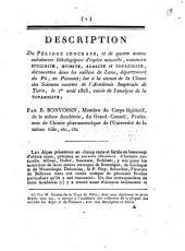 Description du péridot idocrase, et de quatre autres substances lithologiques d'espèce nouvelle, nommées succinite, mussite, alalite et topazolite, découvertes dans les vallées de Lans, dèpartement du Pô, en Piémont; lue à la séance de la classe des sciences exactes de l'Académie impériale de Turin, le 1er août 1805, suivie de l'analyse de la topazolite; par B. Bonvoisin..