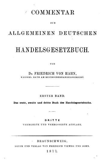 Commentar zum allgemeinen deutschen Handelsgesetzbuch PDF