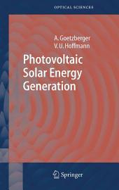 Photovoltaic Solar Energy Generation