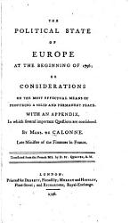 The Political State Of Europe At The Beginning Of 1796 Book PDF