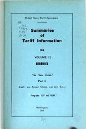 Summaries of Tariff Information: pt.1. Asbestos products, athletic goods, beads, straw hats