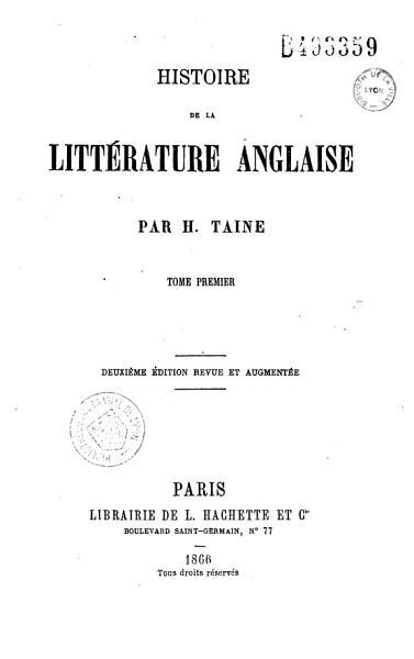 Download Histoire de la litt  rature anglaise Book