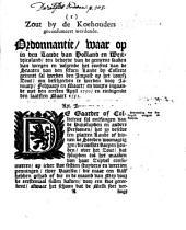 Zout by de koehouders geconsumeert werdende. Ordonnantie, waar op in [...] Holland en Westvriesland [...] geinnet sal werden den impost op het voorsz zout [...] ingaande met den eersten april 1750