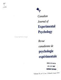 Canadian Journal of Experimental Psychology PDF