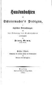 Hausandachten aus Schleiermacher's Predigten: Band 1