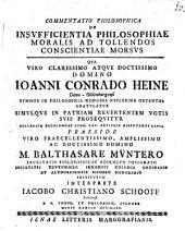 Commentatio philos. de insufficientia philosophiae moralis ad tollendos conscientiae morsus