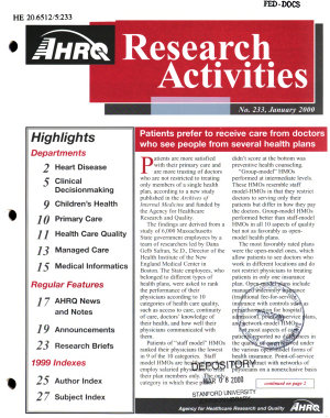 AHRQ Research Activities PDF
