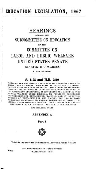 Hearings  Reports and Prints of the Senate Committee on Labor and Public Welfare PDF