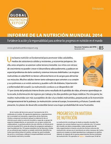 Sinopsis Informe De La Nutricion Mundial 2014