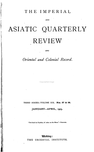 The Asiatic Quarterly Review