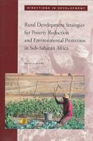 Rural Development Strategies for Poverty Reduction and Environmental Protection in Sub Saharan Africa PDF
