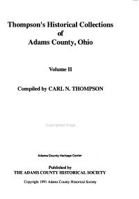 Thompson s Historical Collections of Adams County  Ohio PDF