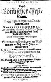 Missale romanum: d.i. Römischer Meßkram ...