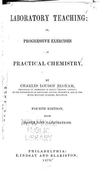 Laboratory teaching  or  Progressive exercises in practical chemistry PDF