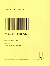 California. Supreme Court. Records and Briefs: S031907, Petition for Review