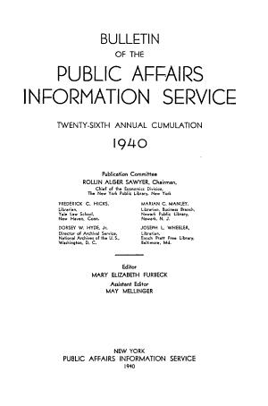 Public Affairs Information Service Bulletin PDF
