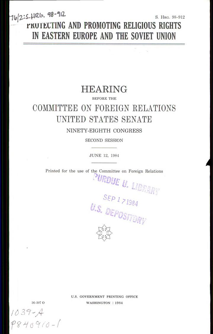 Protecting and Promoting Religious Rights in Eastern Europe and the Soviet Union