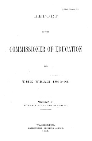 Report of the Commissioner of Education  with Accompanying Papers