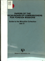 Papers of the American Board of Commissioners for Foreign Missions PDF