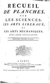 RECUEIL DE PLANCHES, SUR LES SCIENCES, LES ARTS LIBÉRAUX, ET LES ARTS MÉCHANIQUES, AVEC LEUR EXPLICATION.: SEPTIEME VOLUME, 259 Planches, Volume28