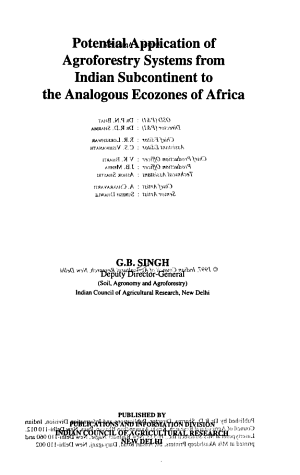 Potential Application of Agroforestry Systems from Indian Subcontinent to the Analogous Ecozones of Africa PDF