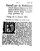 Extract uyt de resolutien van de heeren Staaten van Hollandt en Westvrieslandt [...] genomen op vrydag den 2. januarii 1682. Raackende het gemaal ten platten lande