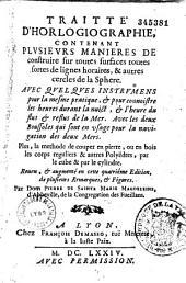 Traité d'horlogiographie... Plus, la méthode de coup en pierre, ou en bois...