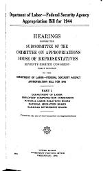 Department of Labor-Federal Security Agency Appropriation Bill for 1944