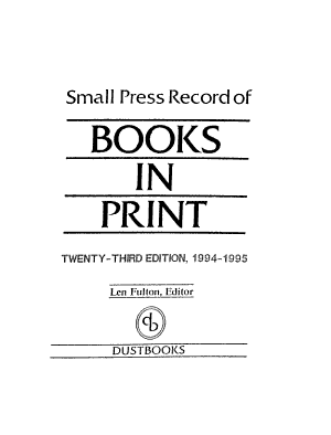 Small Press Record of Books in Print