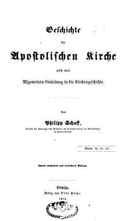 Geschichte der apostolischen Kirche PDF