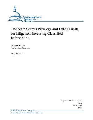 State Secrets Privilege and Other Limits on Litigation Involving Classified Information PDF
