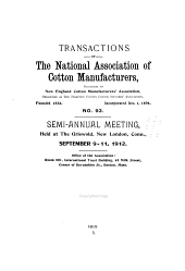 Transactions of the National Association of Cotton Manufacturers: Issue 93