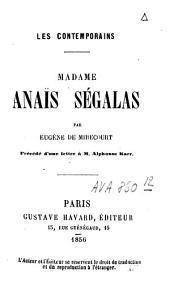 Madame Anaïs Ségalas: précédé d'une lettre à M. Alphonse Karr