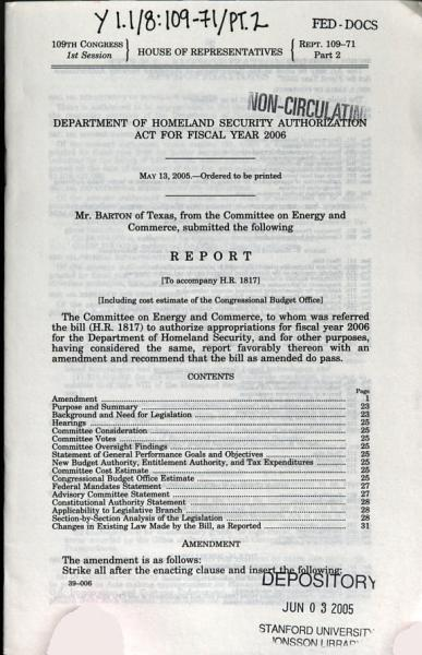 Department Of Homeland Security Authorization Act For Fiscal Year 2006