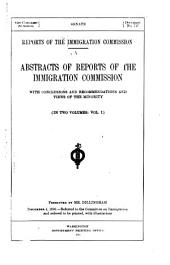 Reports of the Immigration Commission: Abstracts of reports of the Immigration commission