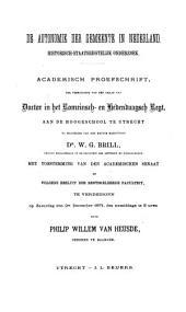 De autonomie der gemeente in Nederland: historisch-staatsregtelijk onderzoek