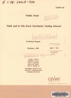 Field and in Situ Rock Mechanics Testing Manual PDF