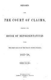 Reports from the Court of Claims Submitted to the House of Representatives: Volume 1