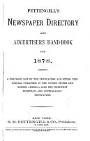 Pettengill s Newspaper Directory and Advertiser s Hand book for 1878 PDF