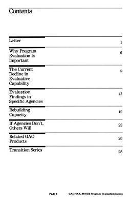 Program Evaluation Issues PDF
