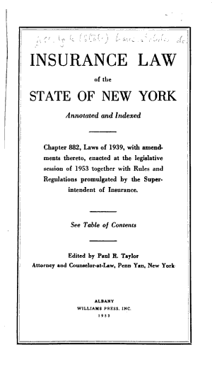 Insurance Law of the State of New York