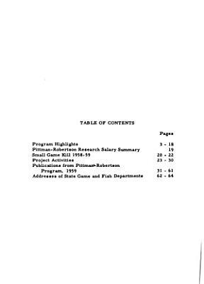 Survey of Pittman Robertson Activities  1959