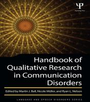 Handbook of Qualitative Research in Communication Disorders PDF