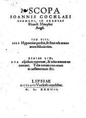 Scopa Ioannis Cochlaei Germani, In Araneas Ricardi Morysini Angli