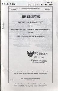 Report on the Activity of the Committee on Energy and Commerce for the     Congress PDF