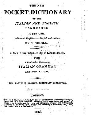 The new Pocket Dictionary of the Italian and English languages  in two parts Italian and English English and Italian      A new edition     corrected throughout by A  Montucci and J  Sivrac PDF